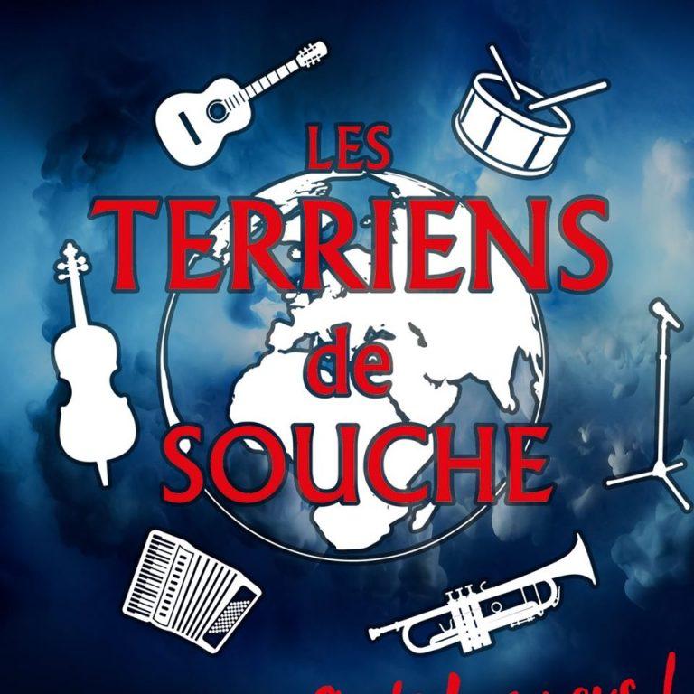 Logo des Terriens de Souche avec des instruments autour d'une terre