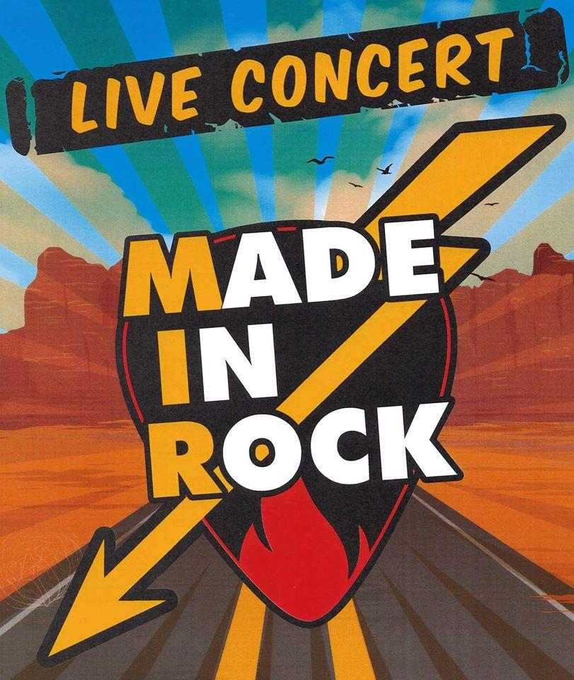 logo du groupe Made In Rock un coeur fendu d'un éclair